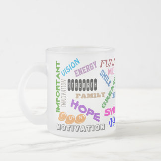 POSITIVE WORDS FROSTED GLASS COFFEE MUG