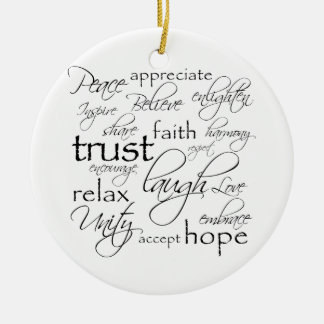 Positive Words Items Round Ceramic Ornament