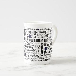 Positive words typography bone china mug