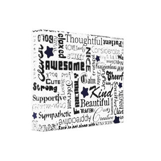 Positive words typography canvas print