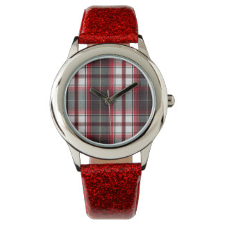 Positively Plaid Red Glitter Band Youth Watch