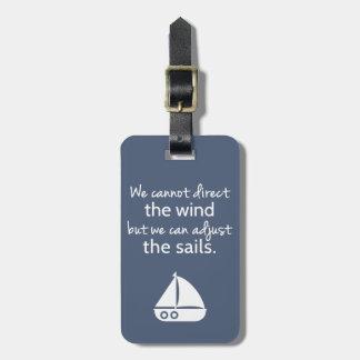 Positivity Mindset Nautical Sail boat Quote Bag Tag