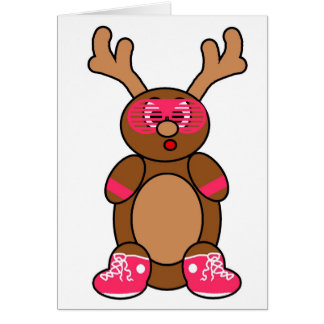 posse deer pink greeting card