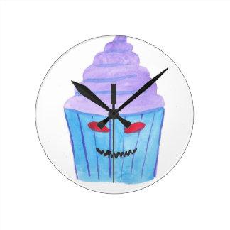 Possessed Cupcake Round Clock