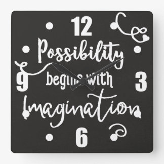 Possibility Begins Motivational Chalkboard Text Wall Clock