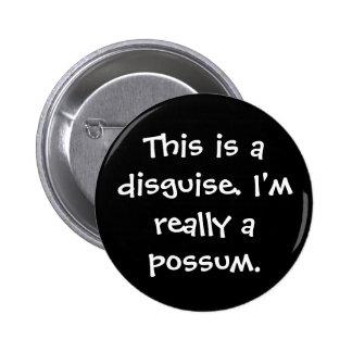 Possum Costume 2 Inch Round Button