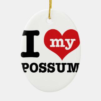 Possum designs ceramic oval ornament