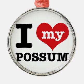 Possum designs Silver-Colored round ornament