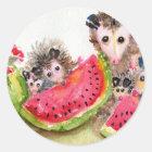 Possum Family Picnic Classic Round Sticker