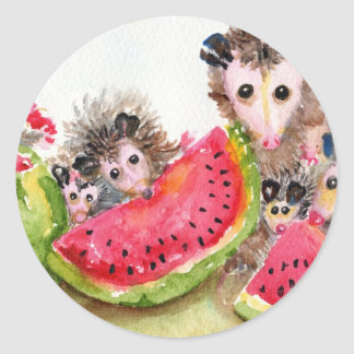 Possum Family Picnic Classic Round Sticker