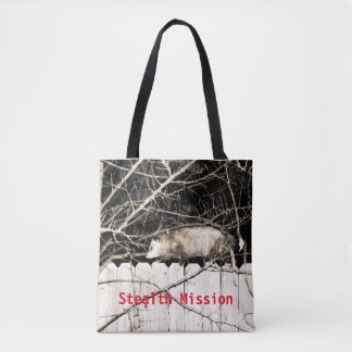 Possum on stealth mission tote bag