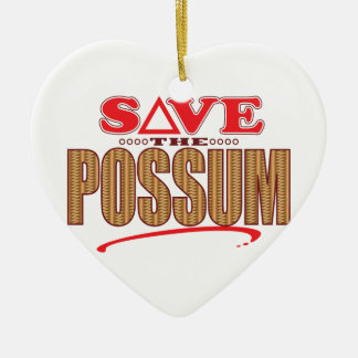 Possum Save Ceramic Heart Ornament