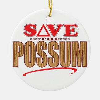 Possum Save Round Ceramic Ornament