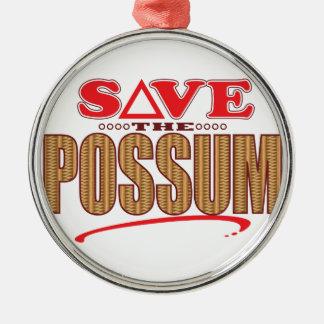 Possum Save Silver-Colored Round Ornament