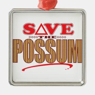 Possum Save Silver-Colored Square Ornament