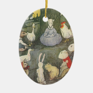 Possum Schoolmarm with Class Ceramic Oval Ornament