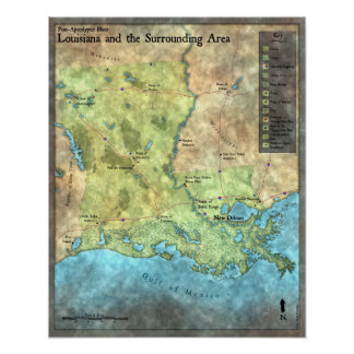 Post-Apocalyptic Blues Overland Map Poster