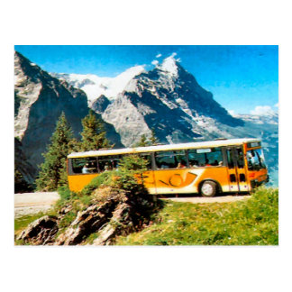 Post bus on the mountain postcard