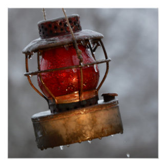 Post Ice Storm Rustic Railroad Lantern Poster