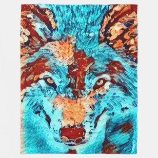 Post Impressionism Wild Wolf Spiritual Art Fleece Blanket