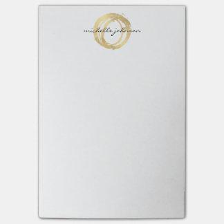 Post-it® Logo de concepteur de cercle peint par or Luxe de