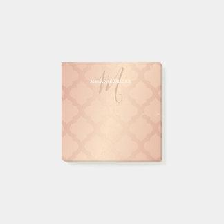 Post It Notes - Rose Gold Lattice Initial Name