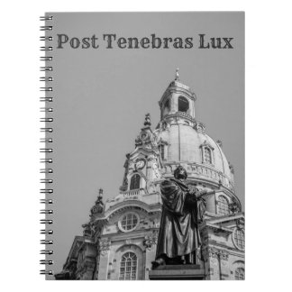 Post Tenebras Lux Notebook Black Text