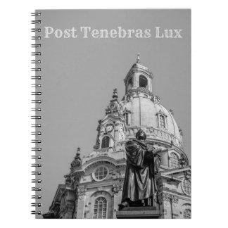 Post Tenebras Lux Notebook Light Grey Text