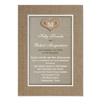 Post Wedding Reception Invitation -- Burlap