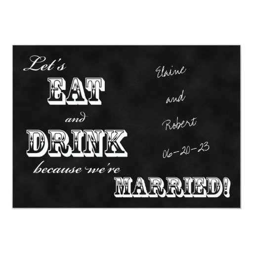 Post Wedding Party Invitation Wording: Post Wedding Reception Invitation -- Chalkboard