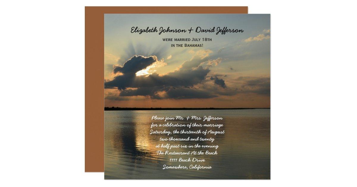Post Wedding Invitations Reception: Post Wedding Reception Invitations - Sunset