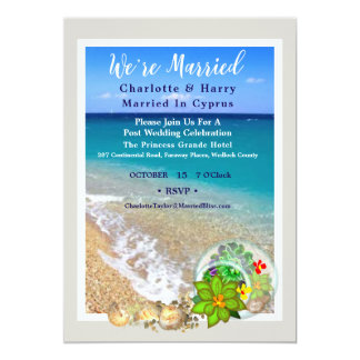 Post Wedding Reception Party Sunny Beach Scene Car Card