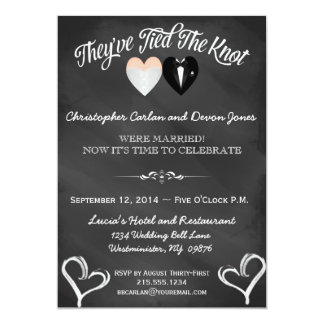 "Post Wedding Trendy Chalkboard Invitation 5"" X 7"" Invitation Card"