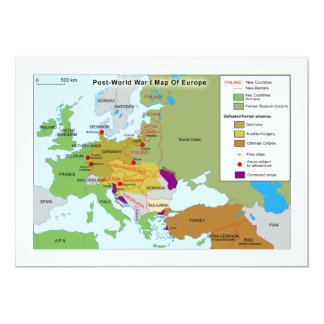 Post World War I Map of Europe 5x7 Paper Invitation Card