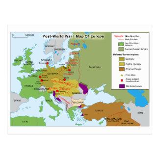 Post World War I Map of Europe Postcard
