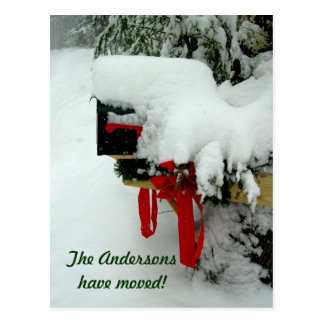 Postal Route New Address Winter Announcement Postcard
