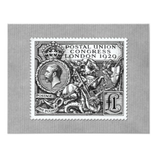 "Postal Union Congress 1929 1 Pound Postage Stamp 4.25"" X 5.5"" Invitation Card"