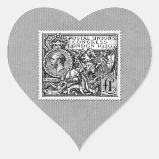 Postal Union Congress 1929 1 Pound Postage Stamp Heart Sticker