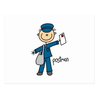 Postal Worker Stick Figure Postcard