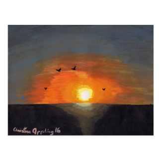 Postcard Acrylic Painting Pacific Ocean Sunset
