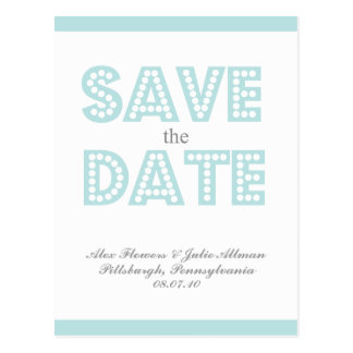 {postcard} aqaua vintage inspired save the date postcard