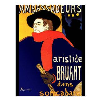 Postcard: Aristide Bruant by Toulouse-Lautrec Postcard