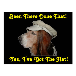 Postcard Basset Hound Yes I've Got The Hat