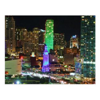 Postcard Biscayne Boulevard in Miami, Florida, the