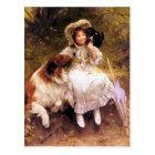 Postcard: Collie Dog, Girl and Cat Postcard