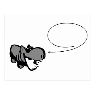 Postcard - Cool Summertime Hippo - Nilpferd