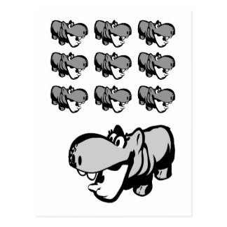 Postcard - Cute Hippo - Nilpferd 6