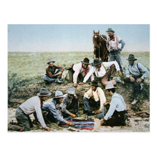 Postcard depicting cowboys gambling shooting craps