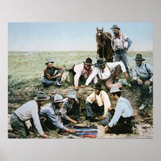 Postcard depicting cowboys gambling shooting craps poster