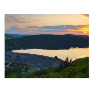 Postcard Edersee concrete dam sunset